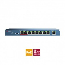 DS-3E0109P-E/M  Affordable Layer 2 unmanaged 9 port Switch, 8 x 100 PoE + 30W (58W max) + 1 x UPLINK 100