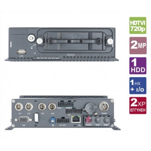 DS-M5504HM-T/GW(1T)  Hybrid digital recorder, 4 HDTVI 720p / analog camera inputs, 4 x IP cameras support as 1080p, 25 fps recording (real time)